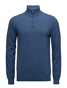 1/4 Zip Cotton Merino Jumper - STORM BLUE MARL