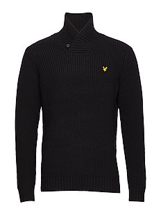 Shawl Neck Jumper - TRUE BLACK
