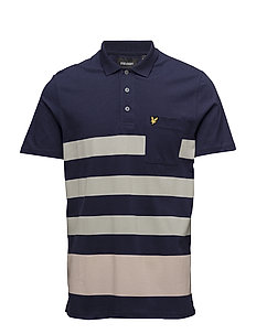 Wide Stripe Polo Shirt - NAVY