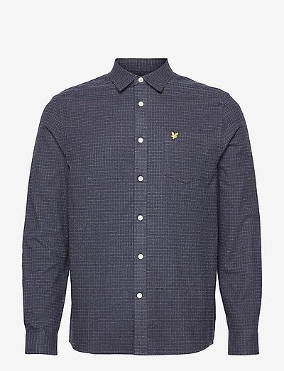 Brushed Cotton Tweed Check Shirt - rutiga skjortor - z271 dark navy
