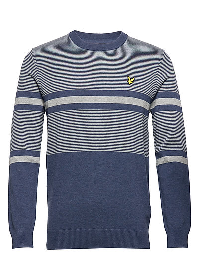 Placement Stripe Knitted Jumper Strickpullover Rundhals Blau LYLE & SCOTT