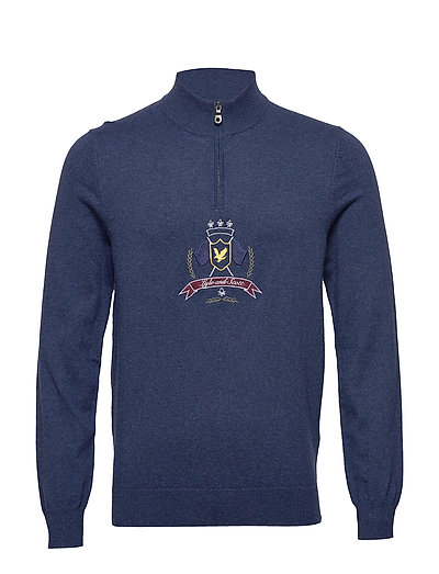 Crest 1/4 Zip Knitted Jumper Knitwear Half Zip Jumpers Blau LYLE & SCOTT