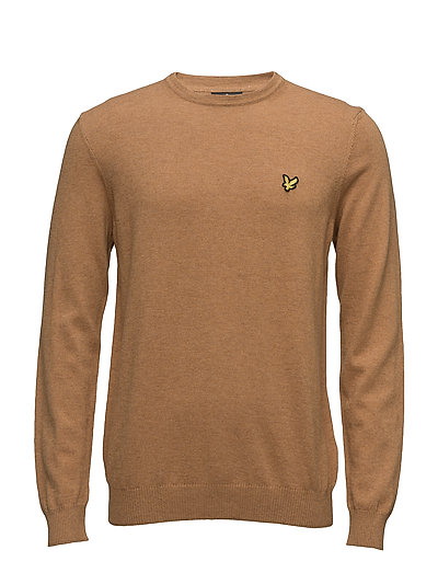 Crew Neck Cotton Merino 12gg Jumper - DARK GOLD MARL