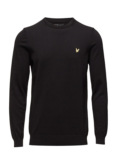 Crew Neck Cotton Merino 12gg Jumper - TRUE BLACK