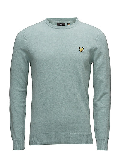 Cotton Merino Crew Jumper - POWDER BLUE MARL
