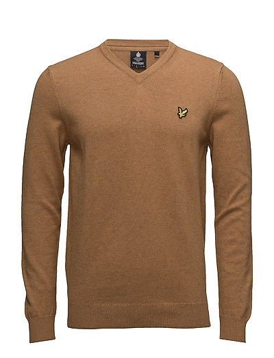 V Neck Cotton Merino Jumper - DARK GOLD MARL