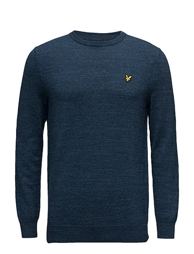 Crew Neck Cotton Linen Jumper - DARK NAVY MARL