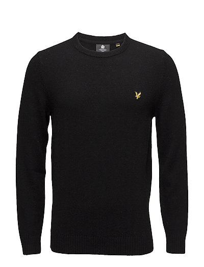 Crew Neck Lambswool Blend Jumper - TRUE BLACK