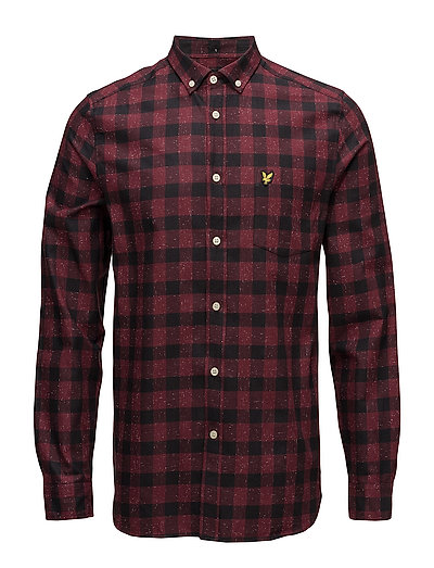 Flecked Check Shirt - CLARET JUG