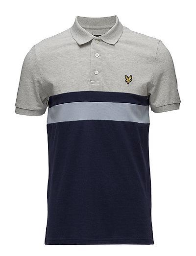 Yoke Stripe Polo Shirt - LIGHT GREY MARL