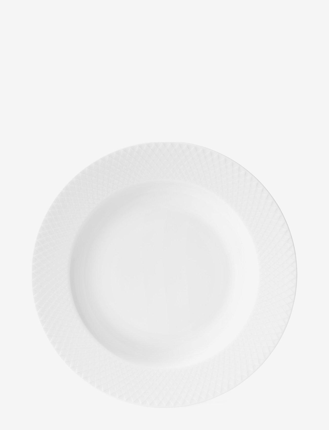 Lyngby Porcelæn - Rhombe Soup plate Ø23 cm white porcelain - djupa tallrikar - white - 0