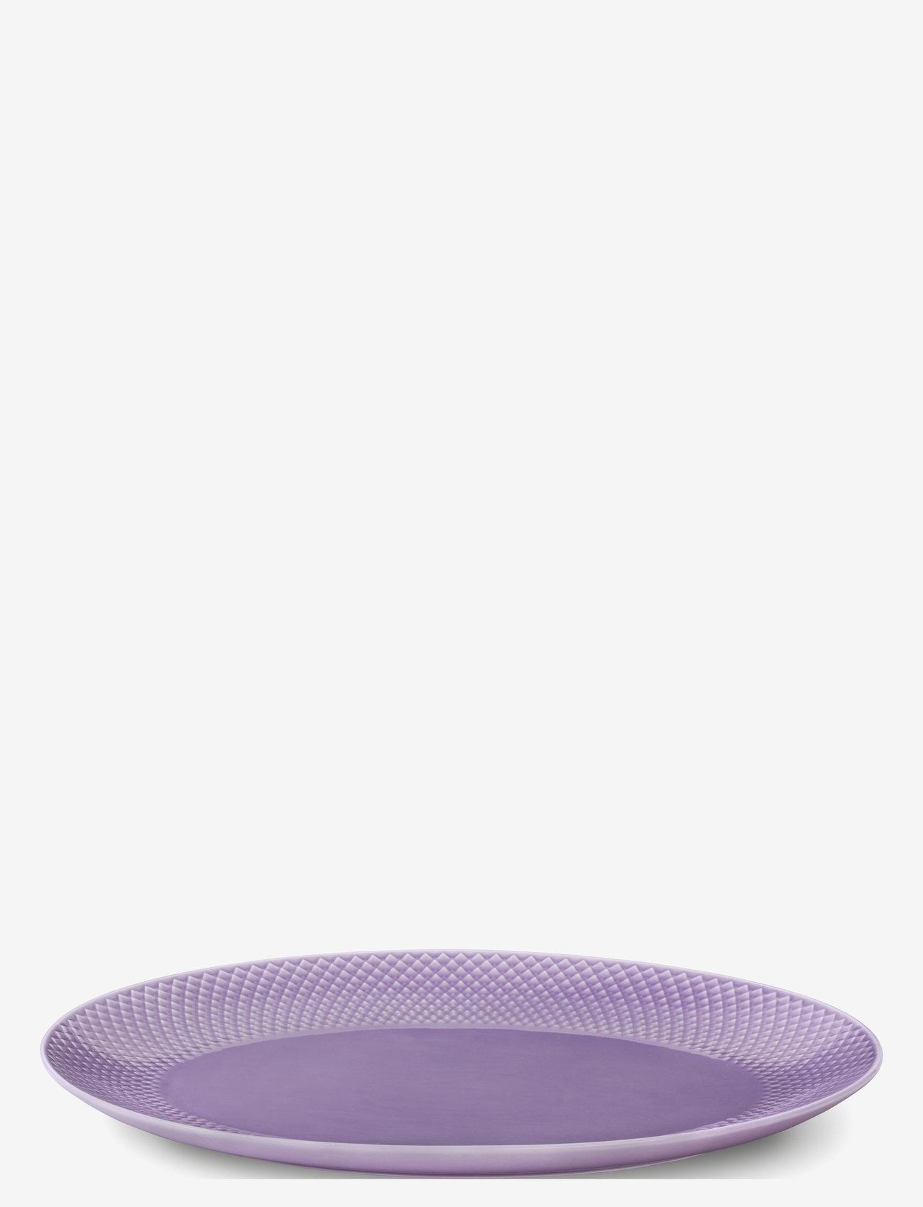 Lyngby Porcelæn - Rhombe Color Oval serveringsfat - serveringsfat - light lilac - 0