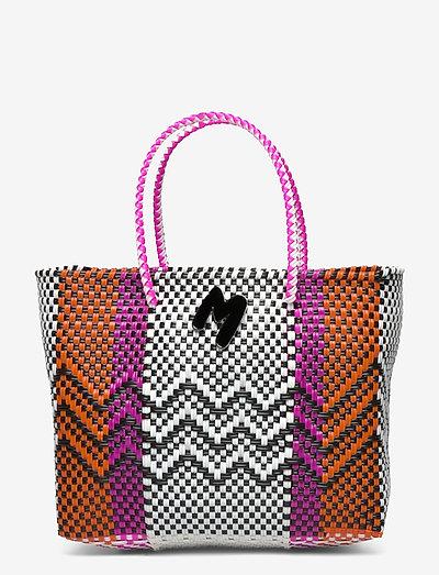 M MISSONI-TOP HANDLE - shoppers - black/white/pumpkin/hot pink