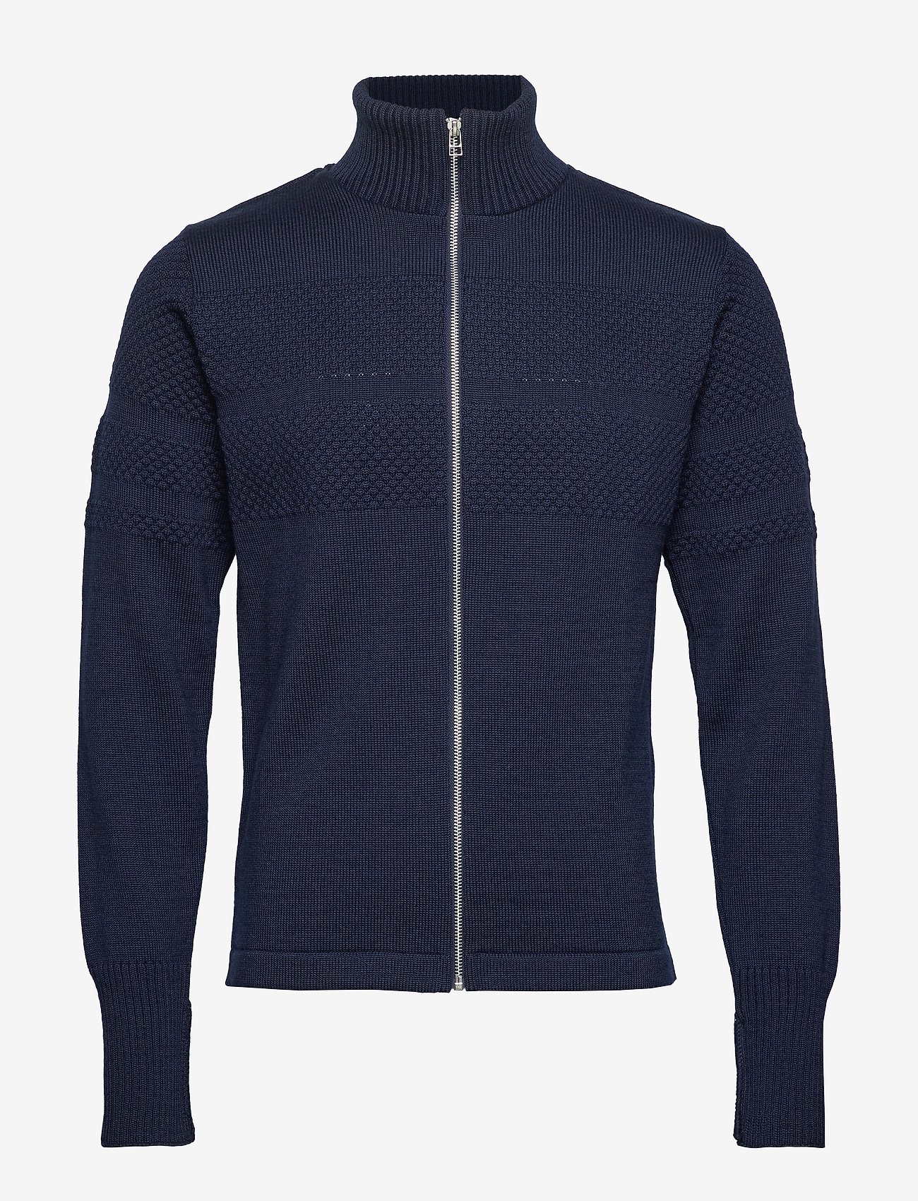 Mads Nørgaard - 100% Wool Klemens Zip - basic strik - navy - 0