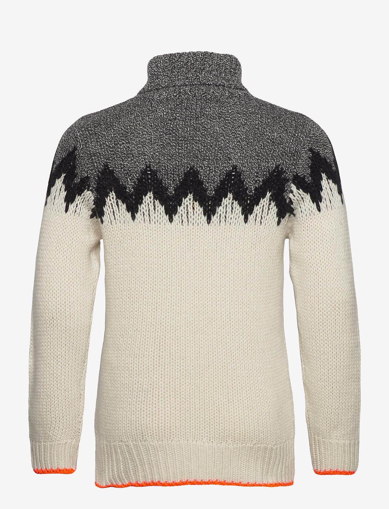 Mads Nørgaard - Recycled Iceland Kelden - truien met col haag - black/ecru - 1