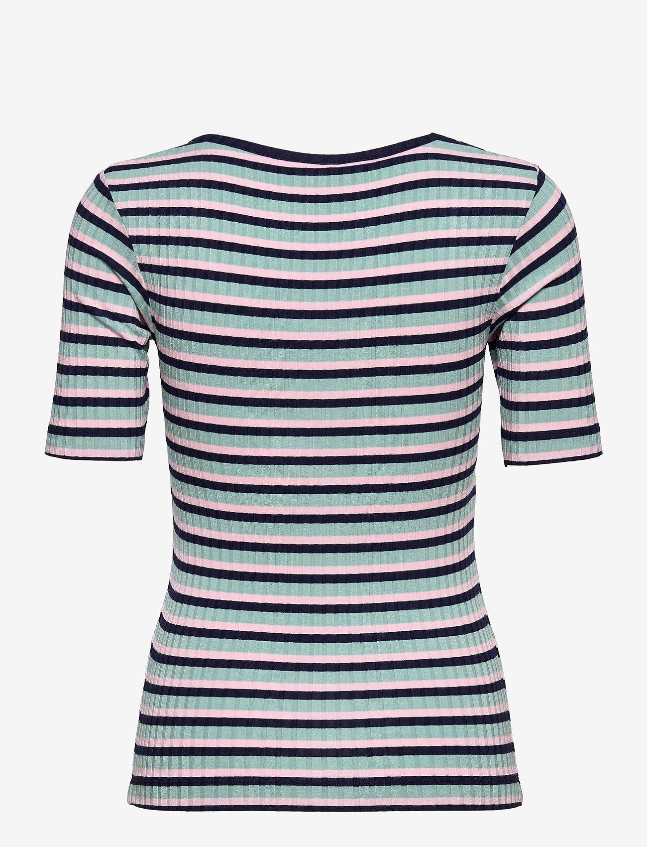 Mads Nørgaard - 5x5 Stripe Taura - t-shirts - aqua/pink/navy - 1