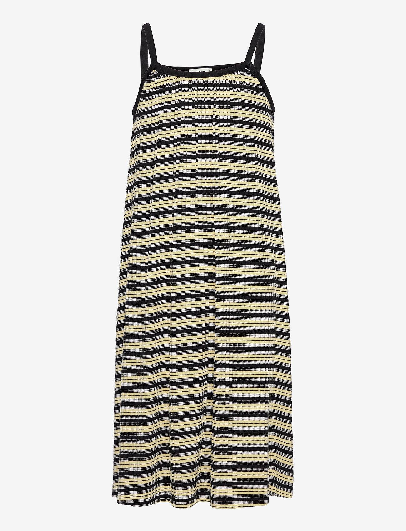 Mads Nørgaard - 5x5 Stripe Ducina - kleider - black/pale banana/white - 0
