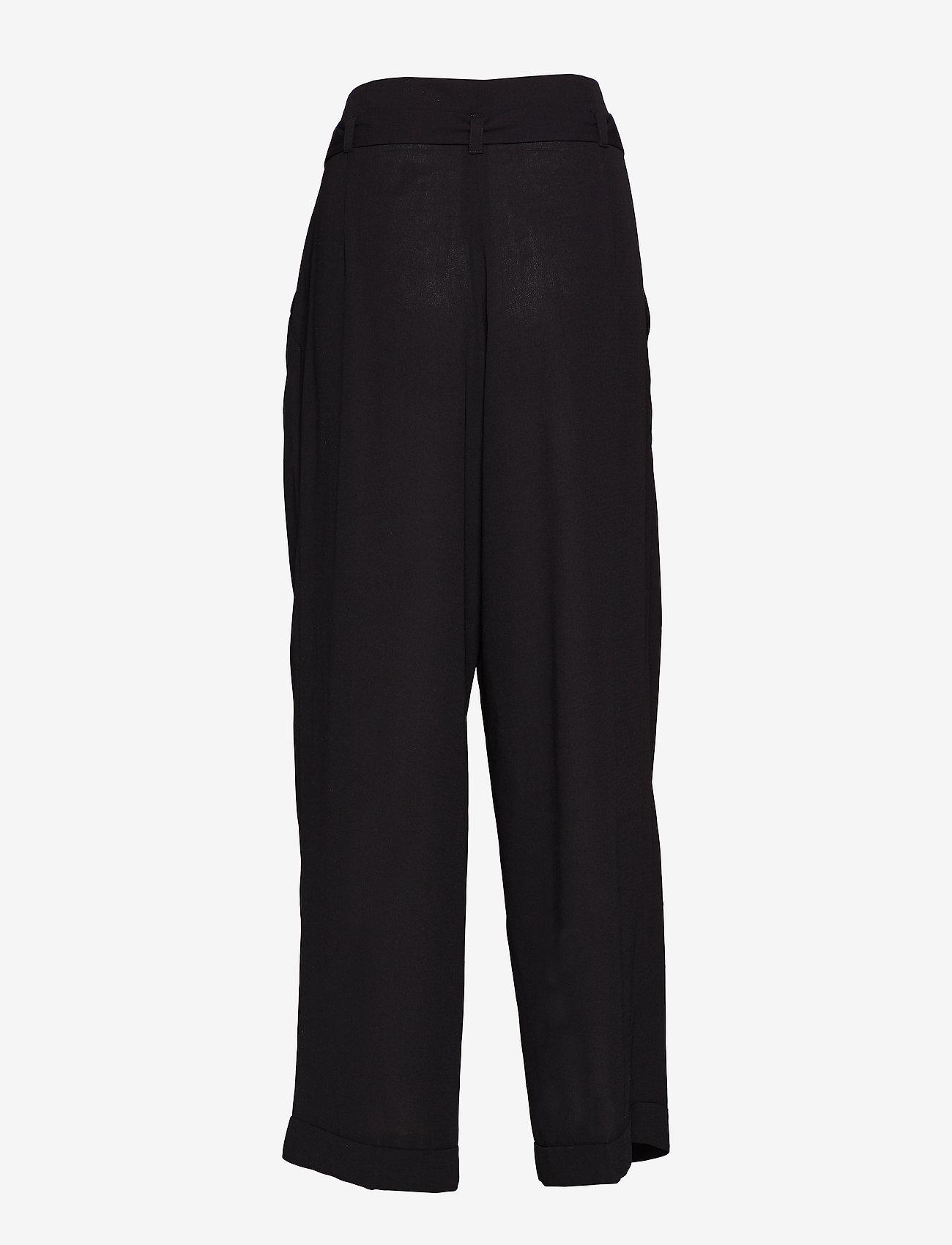 Mads Nørgaard - Crepe georgette Pleasy - bukser med brede ben - black - 1