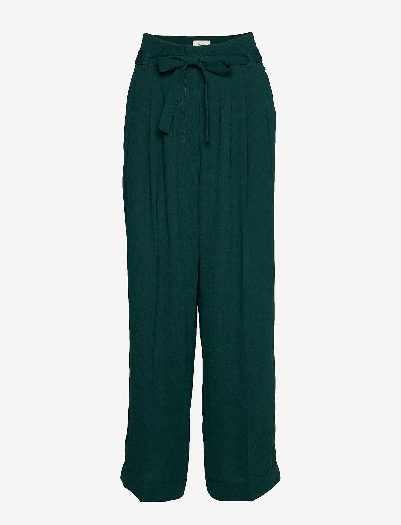 Mads Nørgaard - Crepe georgette Pleasy - bukser med brede ben - dark petrol - 0