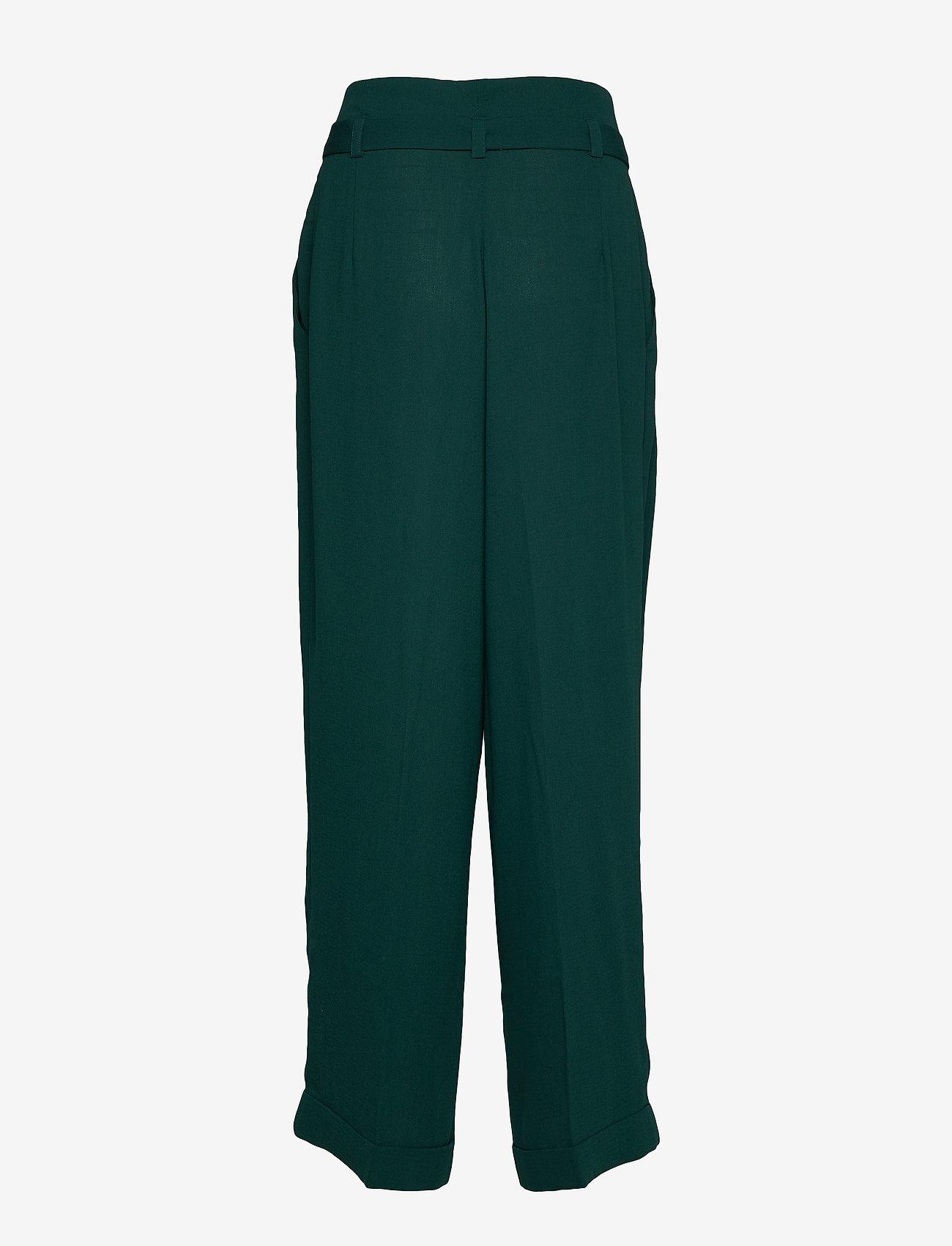 Mads Nørgaard - Crepe georgette Pleasy - bukser med brede ben - dark petrol - 1
