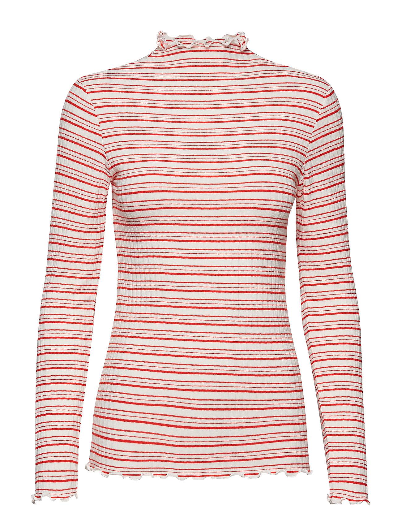 Mads Nørgaard 5x5 Cool Stripe Trutte s - DARK ECRU/WARM RED