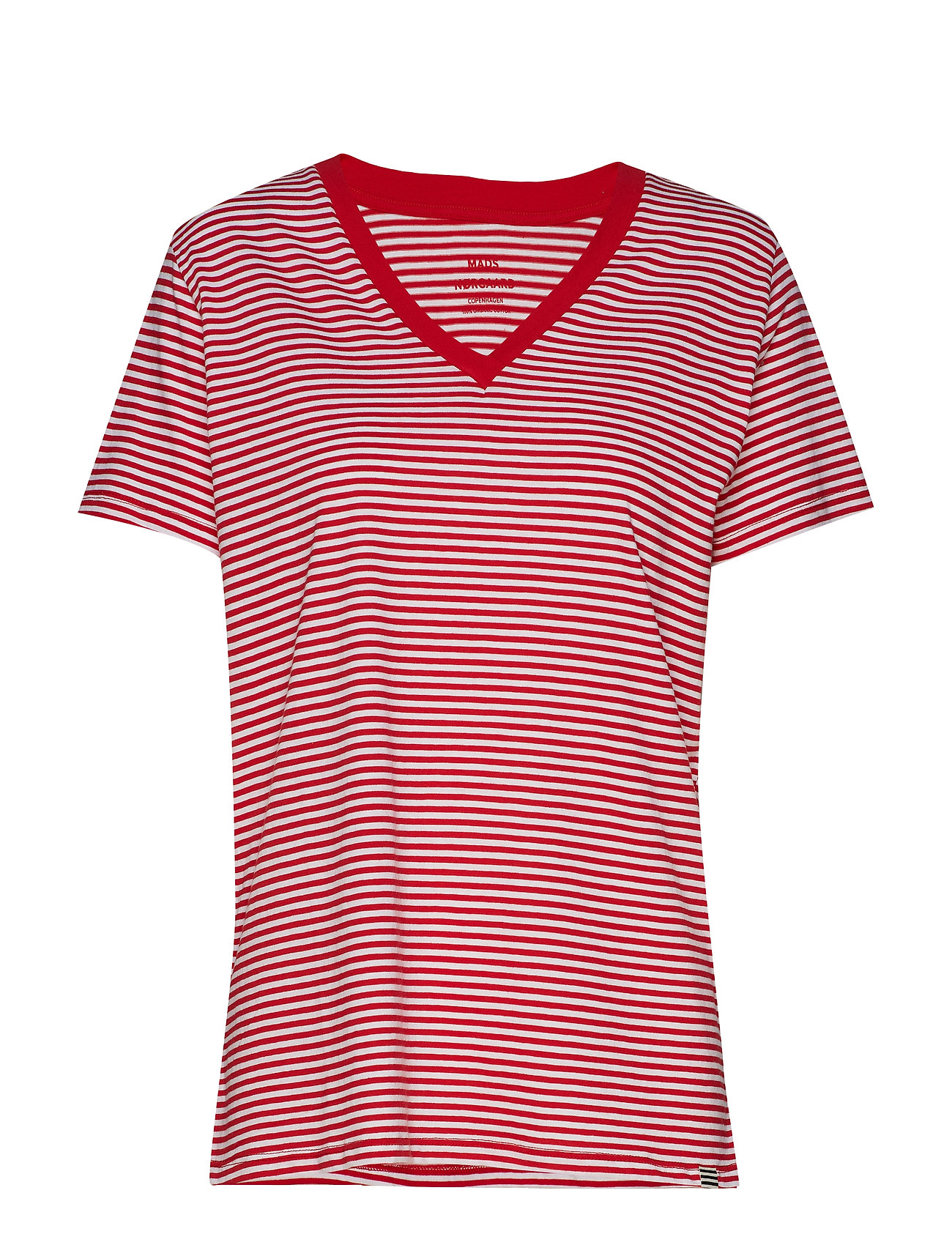 Mads Nørgaard Organic Fav Stripe Trimmy V - RED/WHITE