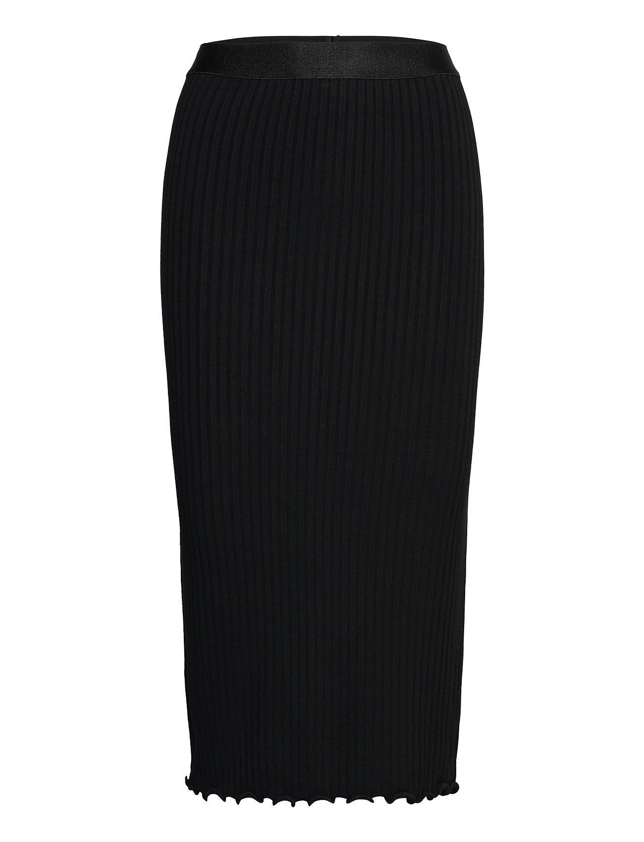 5x5 Solid Suzetta Knælang Nederdel Sort Mads Nørgaard