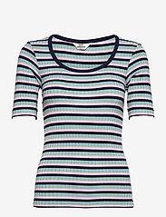 Mads Nørgaard - 5x5 Stripe Taura - t-shirts - aqua/pink/navy - 0