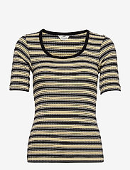 Mads Nørgaard - 5x5 Stripe Taura - t-shirts - black/pale banana/white - 0