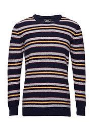 Reversed Knit Kenny Stripe - NAVY/GREY MELANGE/YELLOW/SASSA