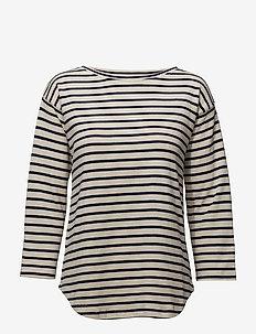 Bretagne Organic Thilke - long-sleeved tops - ecru/navy