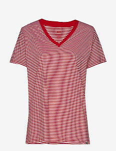 Organic Fav Stripe Trimmy V - RED/WHITE