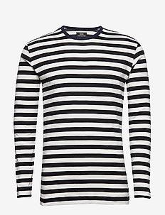 Midi Rib Tobias Long - long-sleeved t-shirts - black/ecru/sky captain