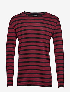 Trio Rib Tobias Long - BURGUNDY/BLACK STRIPE