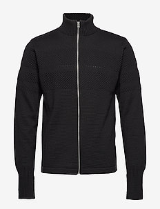 100% Wool Klemens Zip - stickade basplagg - black