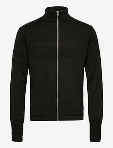 100% Wool Klemens Zip - basic strik - forest night