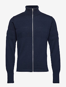 100% Wool Klemens Zip - basic strik - navy