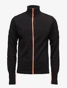 100% Wool Klemens Zip Kontrast - cardigans - black/orange
