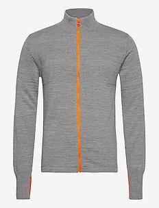 100% Wool Klemens Zip Kontrast - cardigans - grey melange/orange