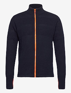 100% Wool Klemens Zip Kontrast - cardigans - sky captain/orange