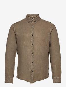 Dyed Linen Sawsett - basic skjortor - army