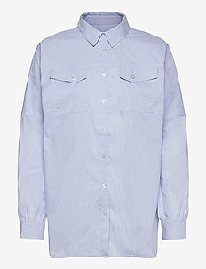Organic Poplin Shella - langærmede skjorter - light blue stripe