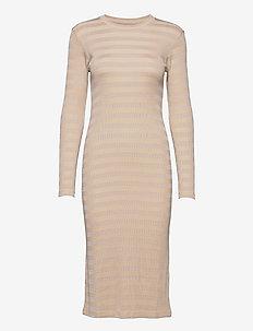 2x2 Tonal Stripe Duba - alledaagse jurken - warm beige