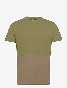 Organic Block Thor - basic t-shirts - olive night/morel