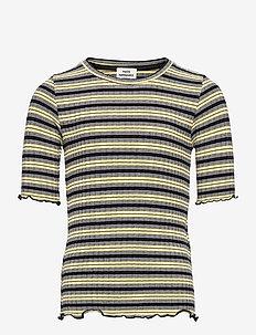 5x5 Stripe Tuviana - korte mouwen - black/pale banana/white