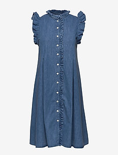 Soft Indigo Debra - jeansowe sukienki - pale indigo