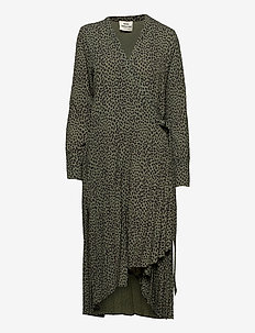 Recina Crepe Jungle Duplisse - wrap dresses - army/black