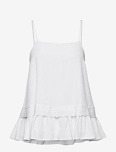 Seersucker Viscose Bista - bluzki bez rękawów - white