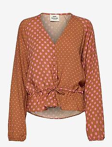 Eco Dot Viscose Brasina - blouses med lange mouwen - tan/pink