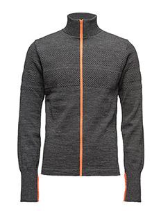 100% Wool Klemens Zip Kontrast - cardigans - charcoal melange/orange